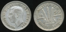 World Coins - Australia, 1950 Threepence, 3d, George VI (Silver) - Fine/Very Fine