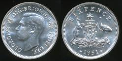 World Coins - Australia, 1951(pl) Sixpence, 6d, George VI (Silver) - Choice Uncirculated