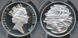 World Coins - Australia, 1998 Twenty Cents, 20c, Elizabeth II - PCGS PR69DCAM (Proof)