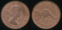 World Coins - Australia, 1963(p) One Penny, 1d, Elizabeth II - almost Uncirculated