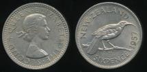 World Coins - New Zealand, 1957 Sixpence, 6d, Elizabeth II - Extra Fine