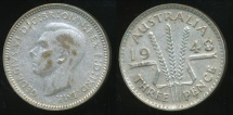 World Coins - Australia, 1948 Threepence, 3d, George VI (Filled 8)(Silver) - Fine