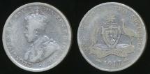 World Coins - Australia, 1917(m) Florin, 2/-, George V (Silver) - Good
