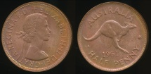 World Coins - Australia, 1961(p) Halfpenny, 1/2d, Elizabeth II - Choice Uncirculated