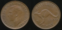 World Coins - Australia, 1949(m) One Penny, 1d, George VI - almost Uncirculated