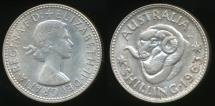 World Coins - Australia, 1963 One Shilling, 1/-, Elizabeth II (Silver) - Uncirculated