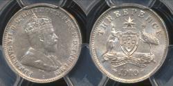 World Coins - Australia, 1910 Threepence, 3d, Edward VII (Silver) - PCGS AU58 (aUnc)