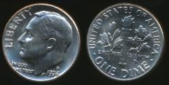 World Coins - United States, 1974-D Dime, Roosevelt - Uncirculated