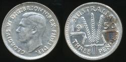 World Coins - Australia, 1950 Threepence, 3d, George VI (Silver) - aUnc/Unc