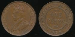 World Coins - Australia, 1924 One Penny, 1d, George V - Extra Fine