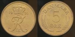 World Coins - Denmark, Kingdom, Frederik IX, 1972 5 Ore - Uncirculated