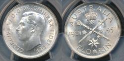 World Coins - Australia, 1951 Florin, 2/-, George VI (Jubilee)(Silver) - PCGS MS64 (Ch-Unc)