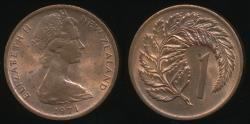 World Coins - New Zealand, 1971 One Cent, 1c, Elizabeth II - Uncirculated