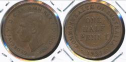 World Coins - Australia, 1939(CoA) Halfpenny, 1/2d, George VI - Very Fine