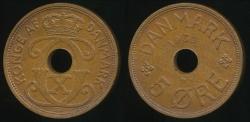 World Coins - Denmark, Kingdom, Christian X, 1936 5 Ore - Uncirculated