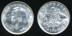 World Coins - Australia, 1944(s) Sixpence, 6d, George VI (Silver) - Choice Uncirculated