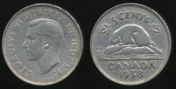 World Coins - Canada, Confederation, 1938 5 Cents, George VI - Fine