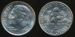 World Coins - United States, 2002-P Dime, Roosevelt - Uncirculated
