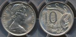 World Coins - Australia, 1969 Ten Cents, 10c, Elizabeth II - PCGS MS66 (Gem Unc)