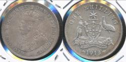World Coins - Australia, 1913 One Shilling, 1/-, George V (Silver) - Very Fine