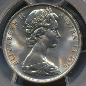 World Coins - Australia, 1976 Twenty Cents, 20c, Elizabeth II - PCGS MS65