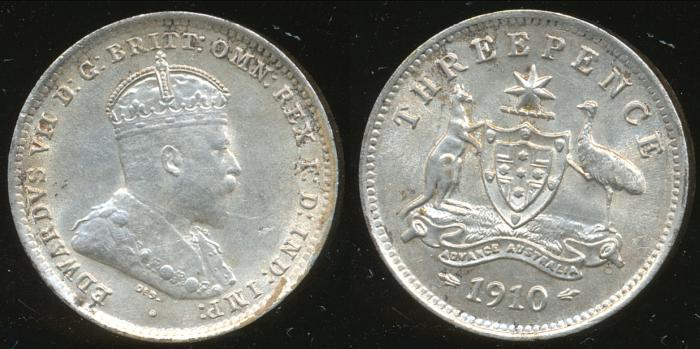 World Coins - AUSTRALIA - 1910 Threepence, Edward VII - Unc