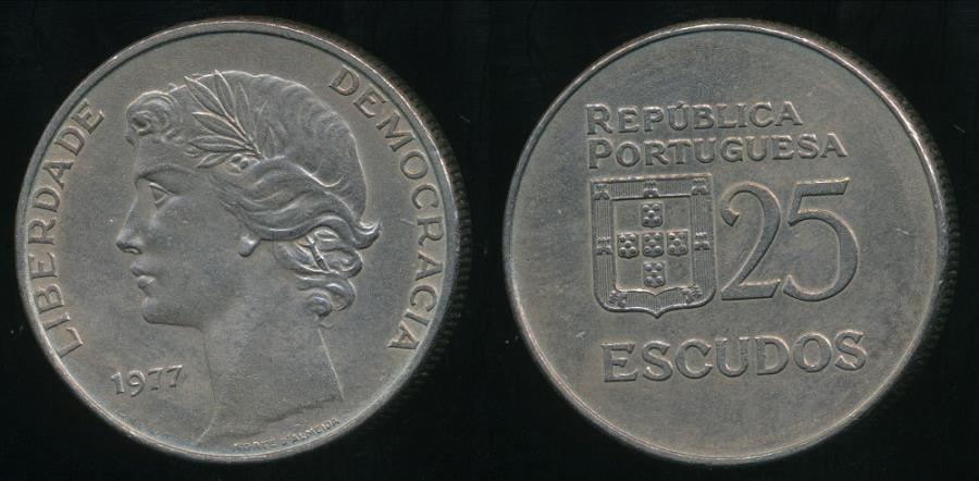 World Coins - Portugal, Republic, 1977 25 Escudos - Extra Fine