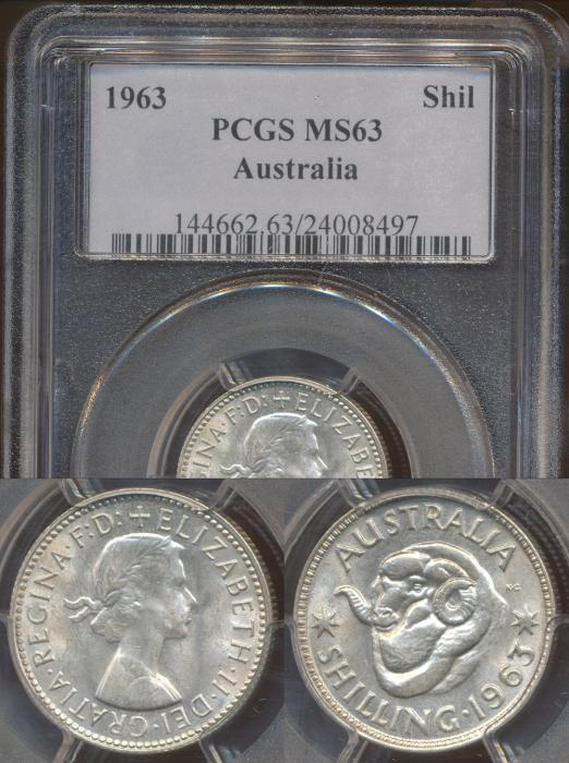 World Coins - Australia, 1963 Shilling - PCGS MS63