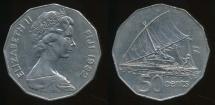 Fiji, Republic, 1982 50 Cents, Elizabeth II - Extra Fine