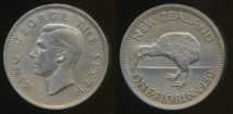World Coins - New Zealand, 1950 Florin, 2/-, George VI - Extra Fine