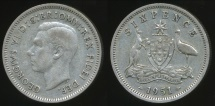 World Coins - Australia, 1951(pl) Sixpence, 6d, George VI (Silver) - Very Fine