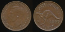World Coins - Australia, 1950(p) One Penny, 1d, George VI - Extra Fine