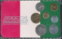 World Coins - Mexico, 1986 World Cup Soccer Uncirculated Mint set of 7 coins