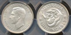 World Coins - Australia, 1943(m) One Shilling, 1/-, George VI (Silver) - PCGS MS64 (Ch-Unc)