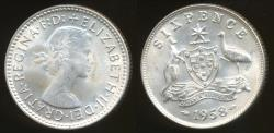 World Coins - Australia, 1958 Sixpence, 6d, Elizabeth II (Silver) - Uncirculated