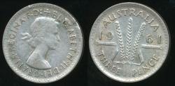 World Coins - Australia, 1961 Threepence, 3d, Elizabeth II (Planchet Flaw)(Silver) - Very Fine