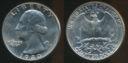 World Coins - United States, 1980-D Quarter, 1/4 Dollar, Washington - Uncirculated