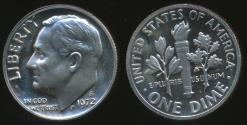 World Coins - United States, 1972-S Dime, Roosevelt - Proof
