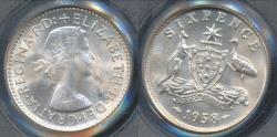 World Coins - Australia, 1958(m) Sixpence, 6d, Elizabeth II (Silver) - PCGS MS64 (Ch-Unc)