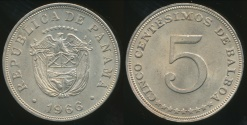 World Coins - Panama, Republic, 1966 5 Centesimos - Uncirculated