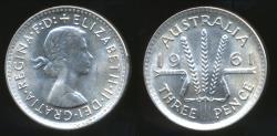 World Coins - Australia, 1961 Threepence, 3d, Elizabeth II (Silver) - Uncirculated