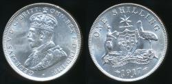 World Coins - Australia, 1917(m) One Shilling, 1/-, Edward VII (Silver) - Uncirculated