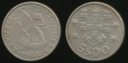 World Coins - Portugal, Republic, 1963 5 Escudos - almost Uncirculated