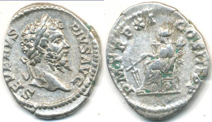 Ancient Coins - SEPTIMIUS SEVERUS, AR denarius, AD 193-211, (20mm, 2.97 g) Rome mint - RIC 189b