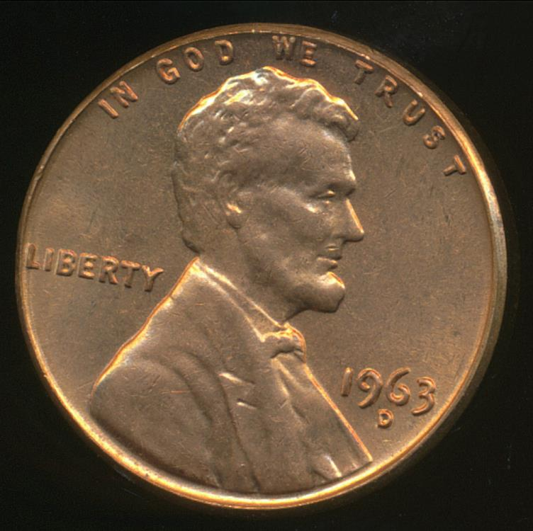 United States, 1963-D One Cent, 1c, Lincoln Memorial - Uncirculated