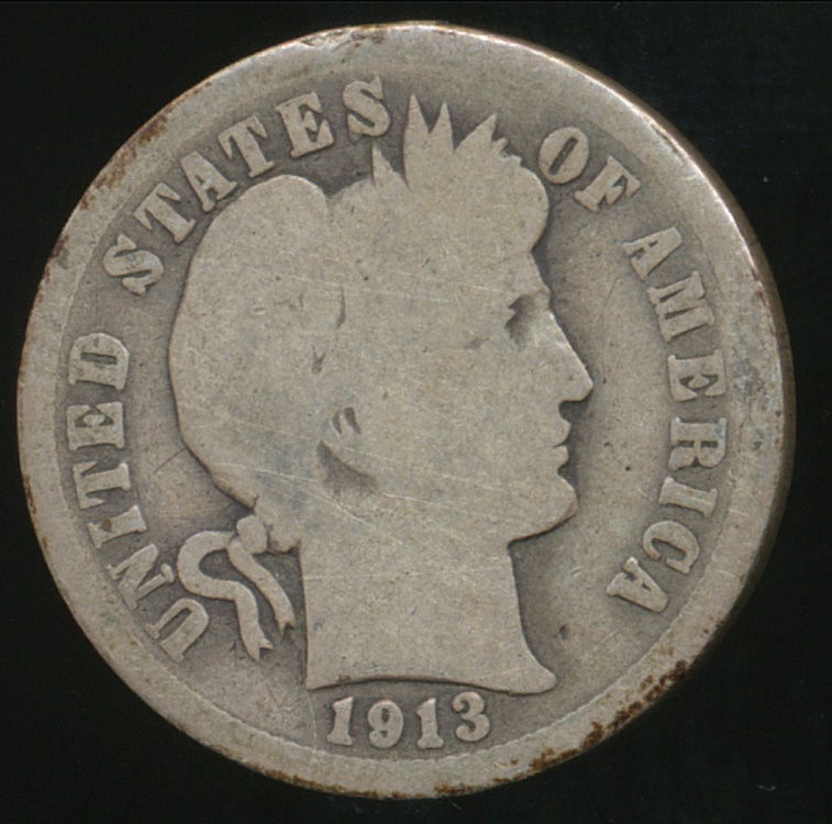 United States 1913 Dime Barber Silver Good