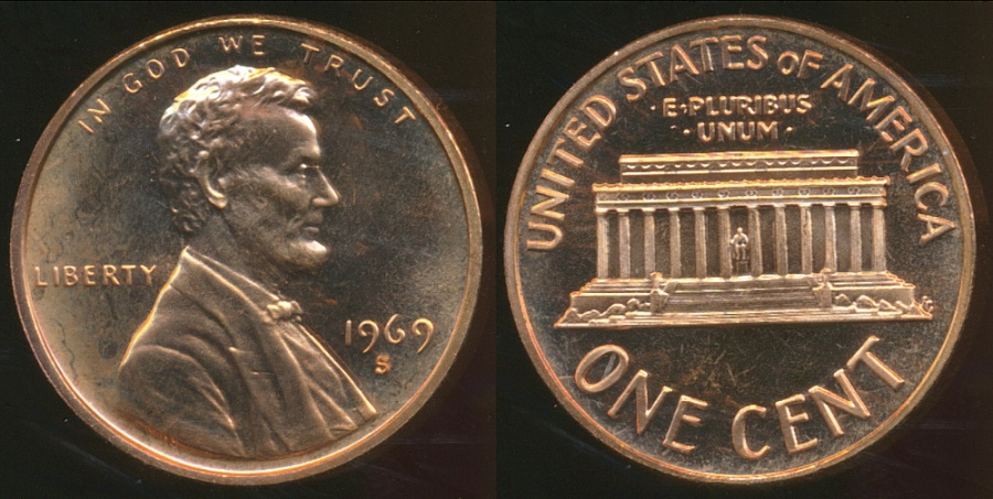 World Coins - United States, 1969-S One Cent, Lincoln Memorial - Proof