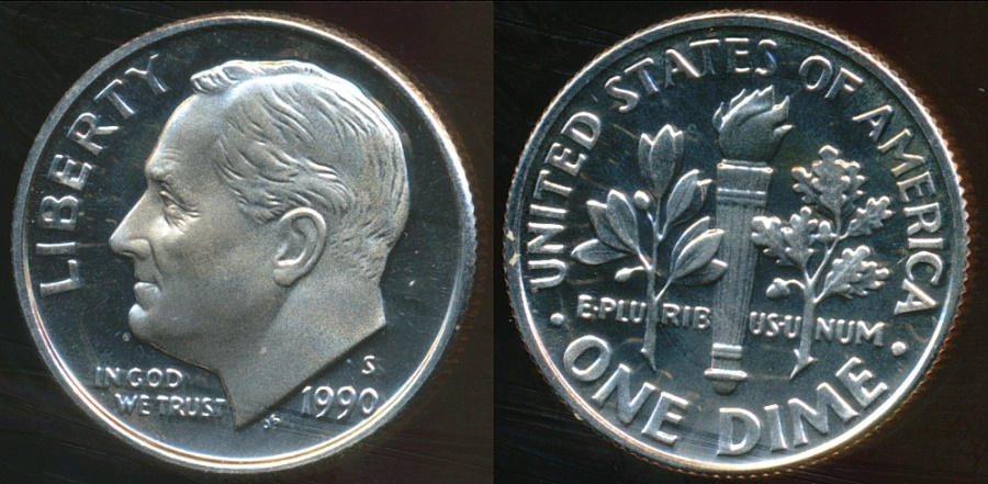 World Coins - United States, 1990-S Dime, Roosevelt - Proof