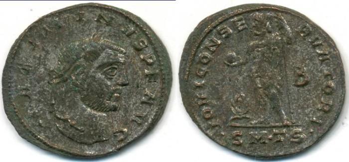 Ancient Coins - MAXIMINUS II. AE-Follis, AD 309-313, Thessalonica mint, (25mm, 5.14gm)- RIC-VI-50a