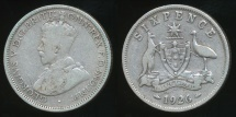 World Coins - Australia, 1926 Sixpence, 6d, George V (Silver) - Very Good/Fine